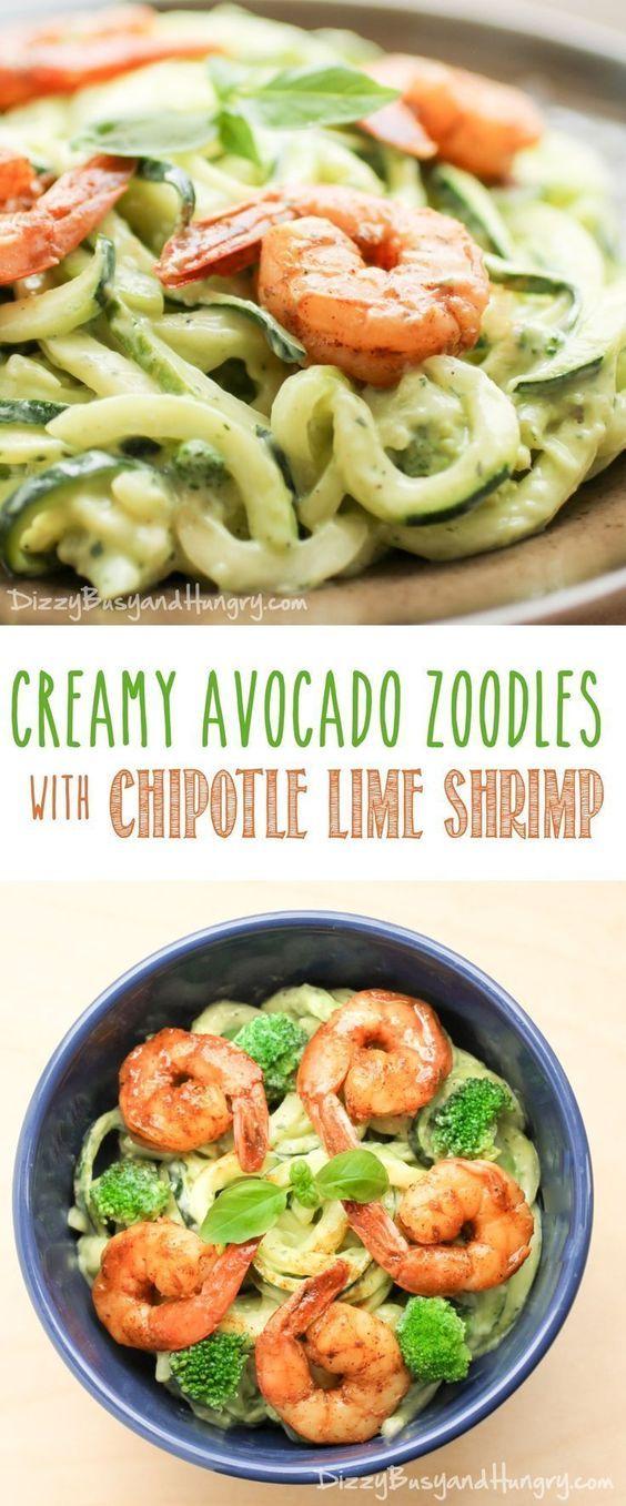 Creamy Avocado Zoodles with Chipotle Lime Shrimp   Nouilles de courgette, avocat et crevettes