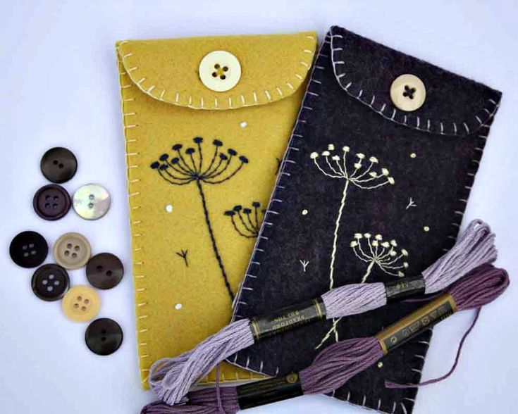 Felt phone case, i pod, gadget cover. Seedheads, yellow