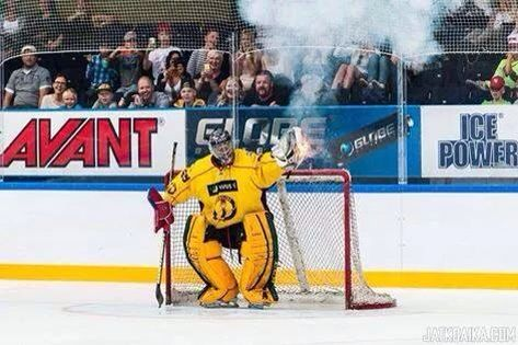 Tukka Rask catching connon ball at charity game in Finland. Boss.