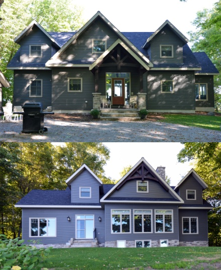 Infinity Fine Homes Inc. renovated this home in Balsam Lake, Ontario using Gentek vinyl windows, casements, and awnings. Infinity Fine Homes Inc. also used Gentek vented soffit, fascia, and Sequoia Select D5 Dutch siding in the colour Windswept Smoke.