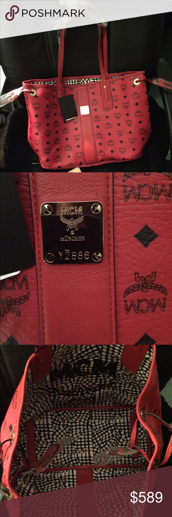 Ruby red Mcm medium tote Brand new and authentic  with tags & tags (will do 537 on pay & ship ASAP after payment) MCM Bags Totes