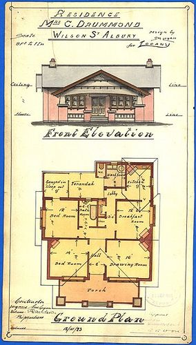 https://flic.kr/p/ntokLP | Logan Plan - Drummond | Wilson Street  Plan for a home on Wilson Street, Albury, for Mrs C. Drummond. The dwelling is an excellent example of the Californian Bungalow style and was designed by Stuart M. Logan for his company, Logans.  Donald Logan wrote that the building was of solid brick, with an iron roof and a ceiling of pressed metal. He noted that the original arch porch was copied all over Albury.  The council stamp was signed off by the then town clerk…