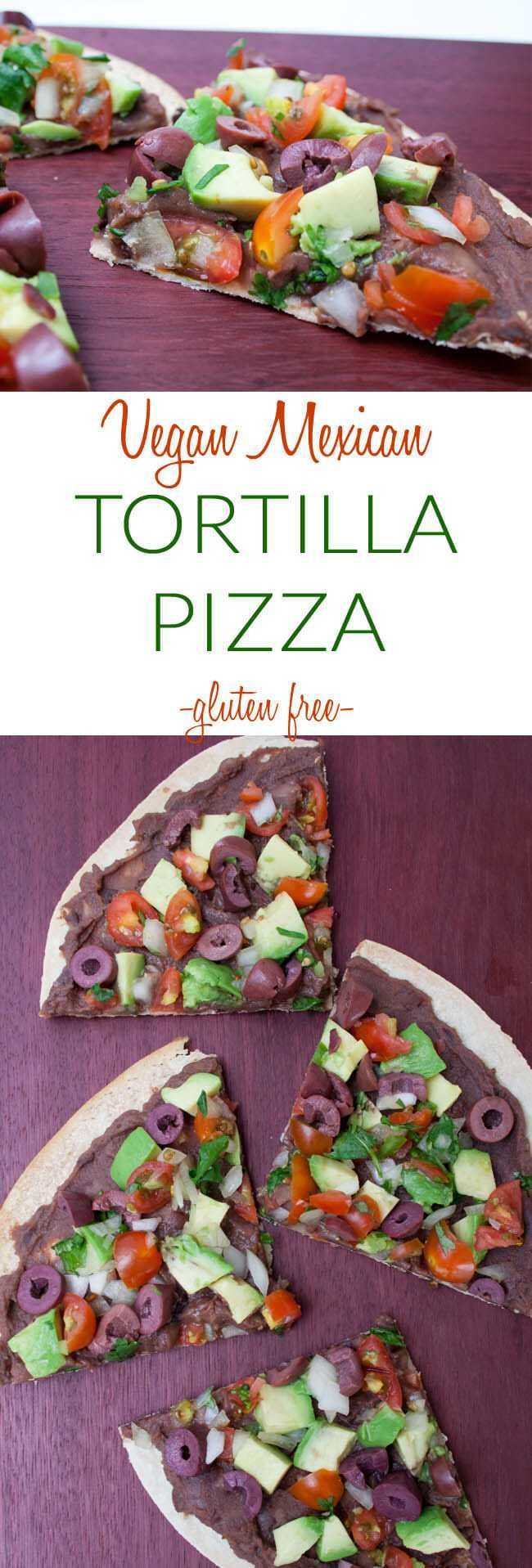 Vegan Mexican Tortilla Pizza (gluten free) – Gluten free Mexican thin crust pizz…