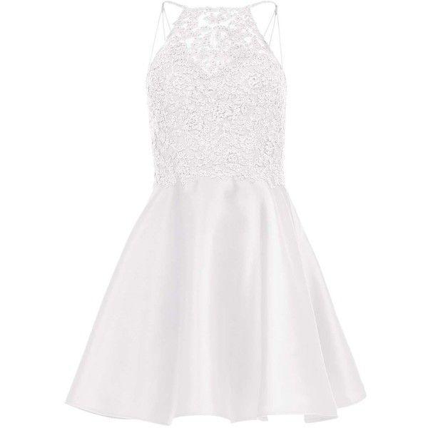 Alyce 3708 Prom ShortDress Mini Halter Sleeveless ($148) ❤ liked on Polyvore featuring dresses, diamond white, formal dresses, prom dresses, white homecoming dresses, white mini dress and white halter top