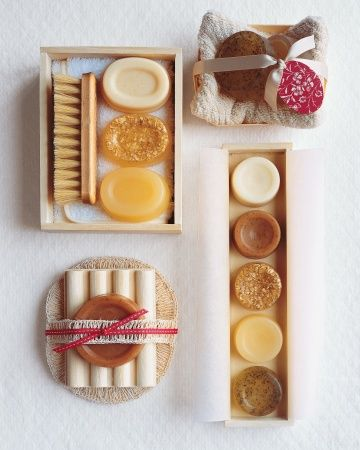 Martha Stewarts how to guide for making bath and body gifts.  Includes, soaps, lip balm, essential oils, bath bombs and more