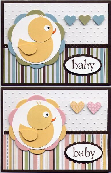 Punched Duckie Baby cards