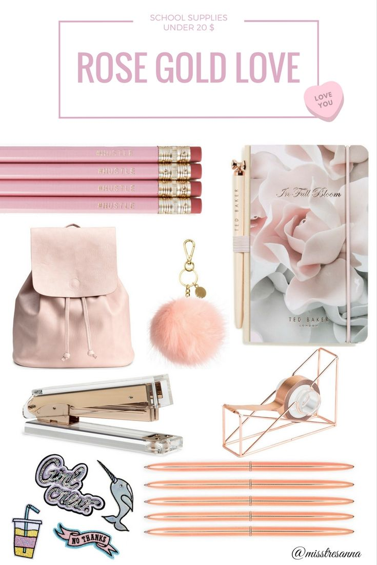 Rose Gold School Supplies For Under 20 Dollar. Shop Cheap But Pretty School Supplies And Be Stylish In School, High School, College University...