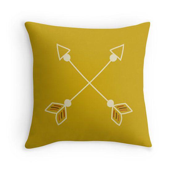Arrows Pillow Cover, Tribal, Peter Pan, Boys Room, Mustard Yellow, Boho Decor, Hippie, Throw Pillow Case, Free Spirit, Kids Cushion, Nursery