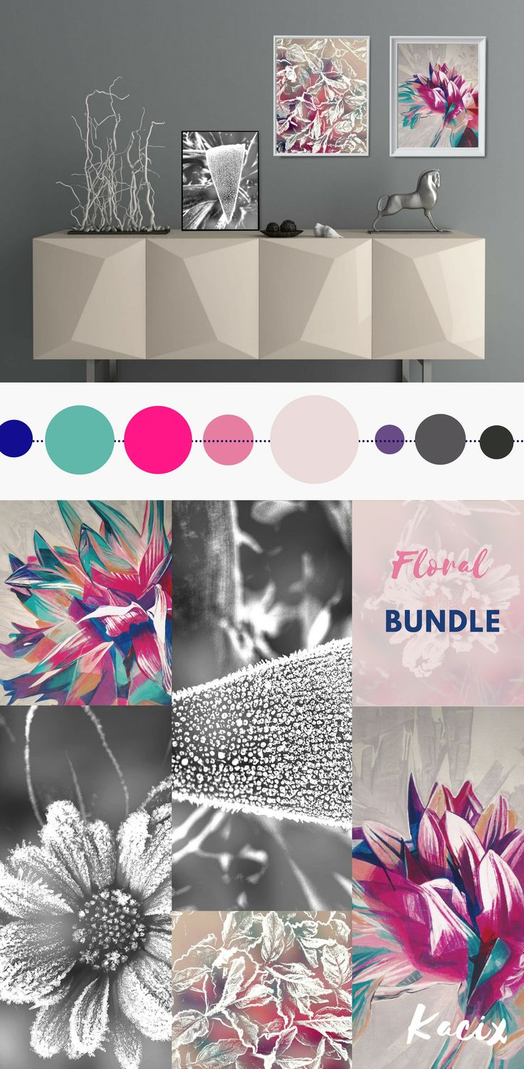 Modern gallery wall printables in a bold color palette. Beautiful shapes of leaves and petals highlighted by frost. Modern wall art set for bedroom or living room. #floralprint #gallerywall #artprint  #kacixart #livingroomdecor  #colorpalettes