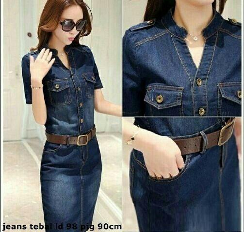 Bahan jeans washed (FREE belt selama persediaan masih ada), good quality.Panjang Baju: 90Lingkar Dada: 98Ukuran allsize, muat s/d fit LWarna ready: dark blue
