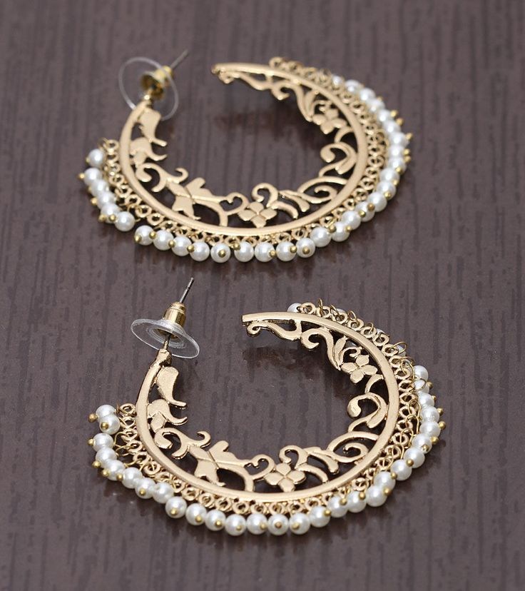 Gold & White Embellished Earrings