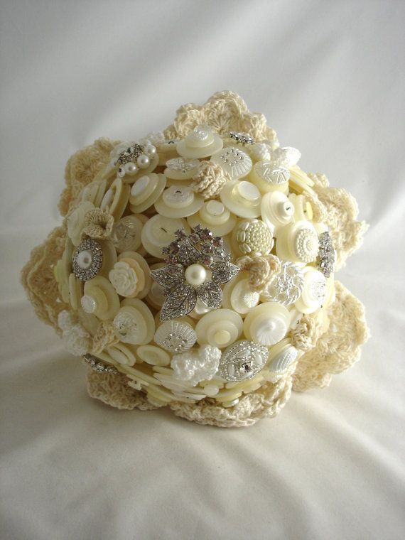 Wedding bouquet with buttons, brooches and crochet flowers