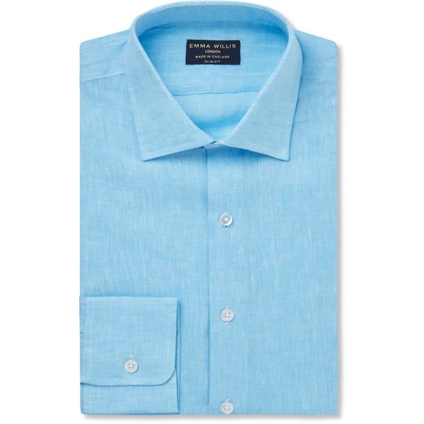 Emma Willis Aqua Slim-Fit Linen Shirt ($360) ❤ liked on Polyvore featuring men's fashion, men's clothing, men's shirts, men's dress shirts, mens short sleeve dress shirts, mens long sleeve collared shirts, mens formal shirts, mens slim fit dress shirts and mens linen shirts