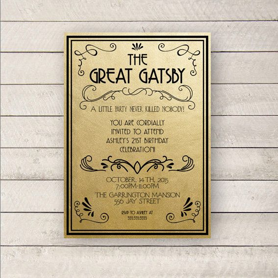 Best 25 Great gatsby invitation ideas – Great Gatsby Party Invitations