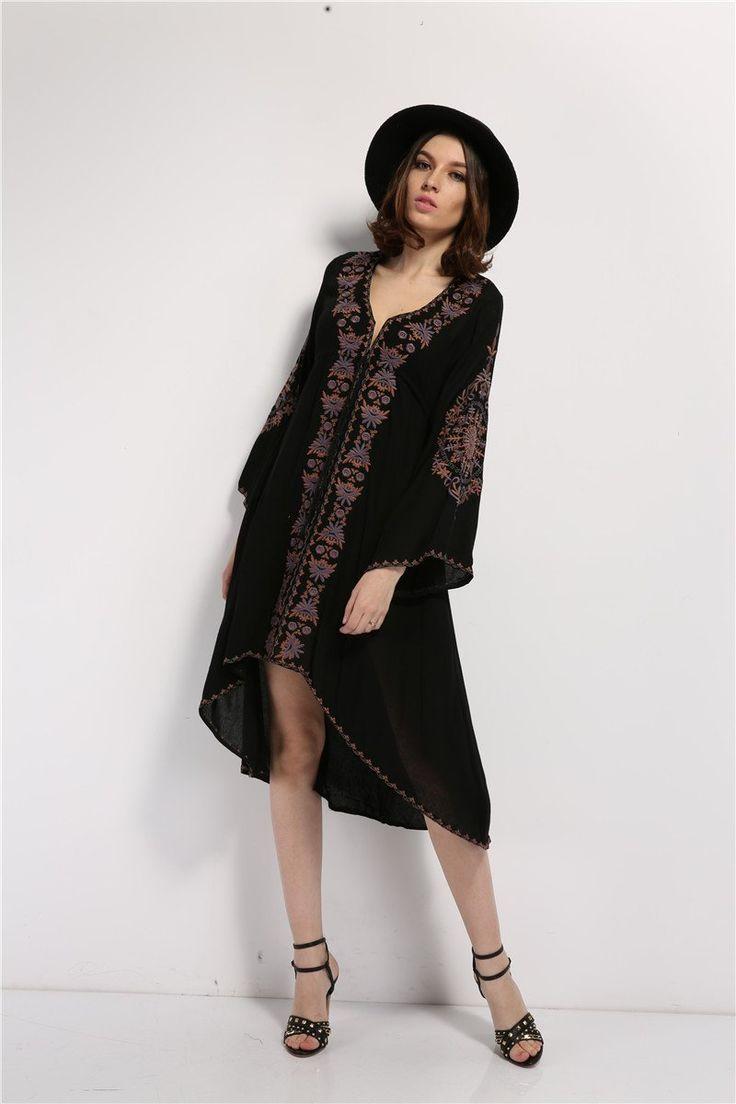Embroidered Hippie Boho Asymmetrical Dress, Dresses, shopboldlyher
