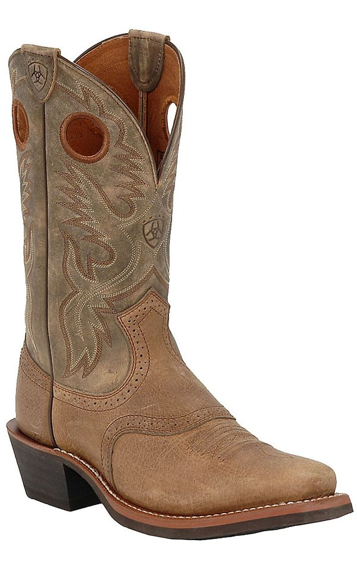 Ariat® Heritage Roughstock™ Men's Earth with Brown Bomber Square Toe Cowboy Boots
