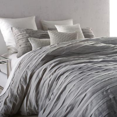 "King comforter set includes: 110"" W x 96"" L comforter Two 20"" W x 36"" L king pillow shams DKNY Loft Stripe Comforter Set in Grey - BedBathandBeyond.com"