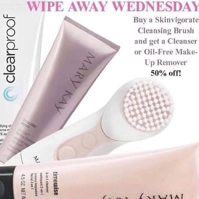 It's WHIPE AWAY WEDNESDAY!! Buy the awesome new Skinvigorate Cleansing Brush and get any Cleanser or Oil-Free Makeup Remover for 50% OFF!!