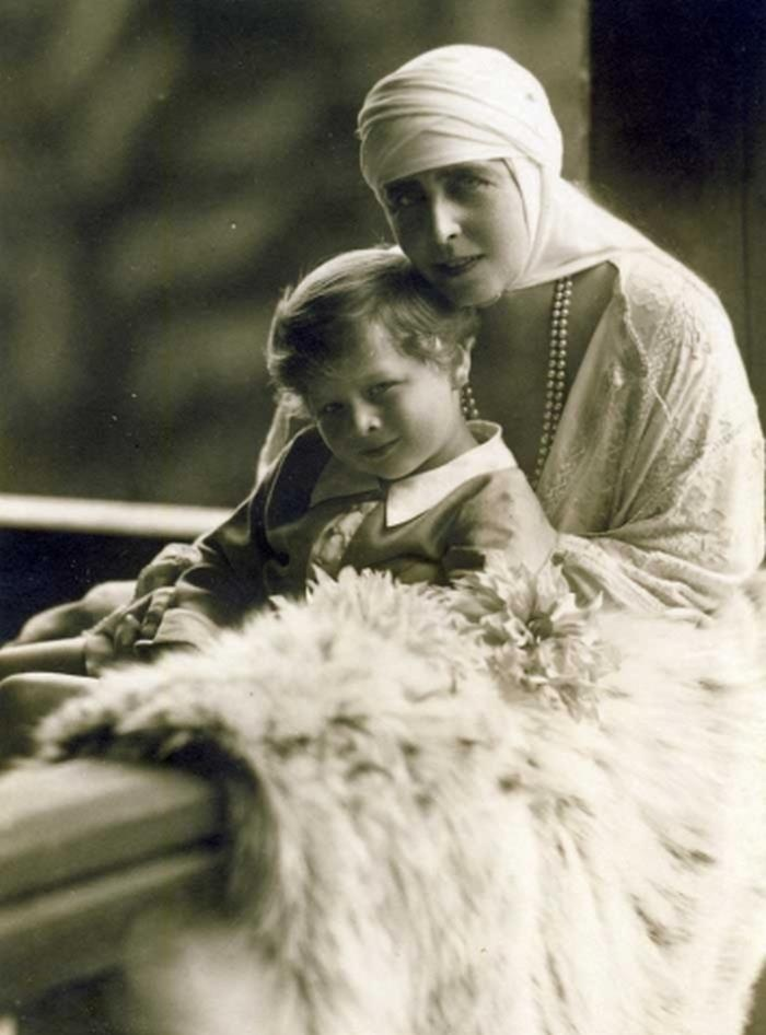 Queen Marie of Romania and prince Michael