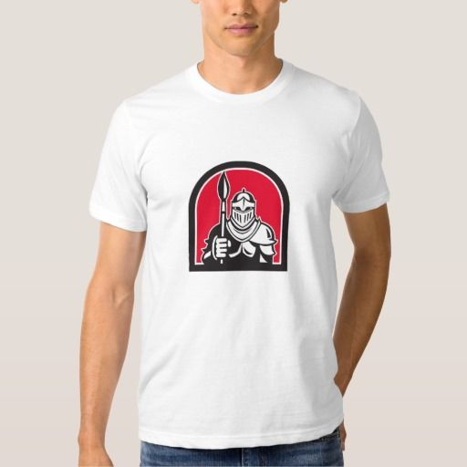 Knight Full Armor Holding Paint Brush Half Circle Tee Shirt. Illustration of knight in full armor holding paint brush viewed from front set inside half circle on isolated background done in retro style. #Illustration #KnightFullArmorHoldingPaintBrush