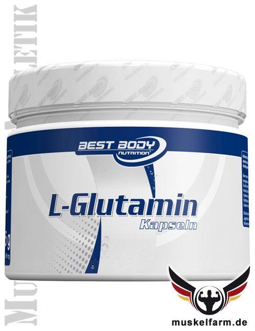 Best Body Nutrition L-Glutamin Kapseln sind hochwertige Glutaminkapseln, ideal für unterwegs, einfache Dosierung möglich, optimiert mit Zink.