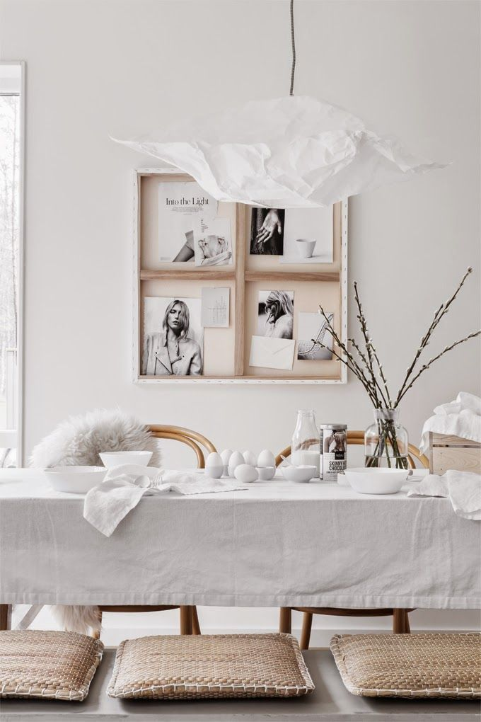 White and simple Easter styling