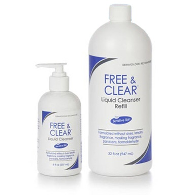 Free and Clear Liquid Cleanser is a soap-free, oil-free cleanser. Body Wash. (online)