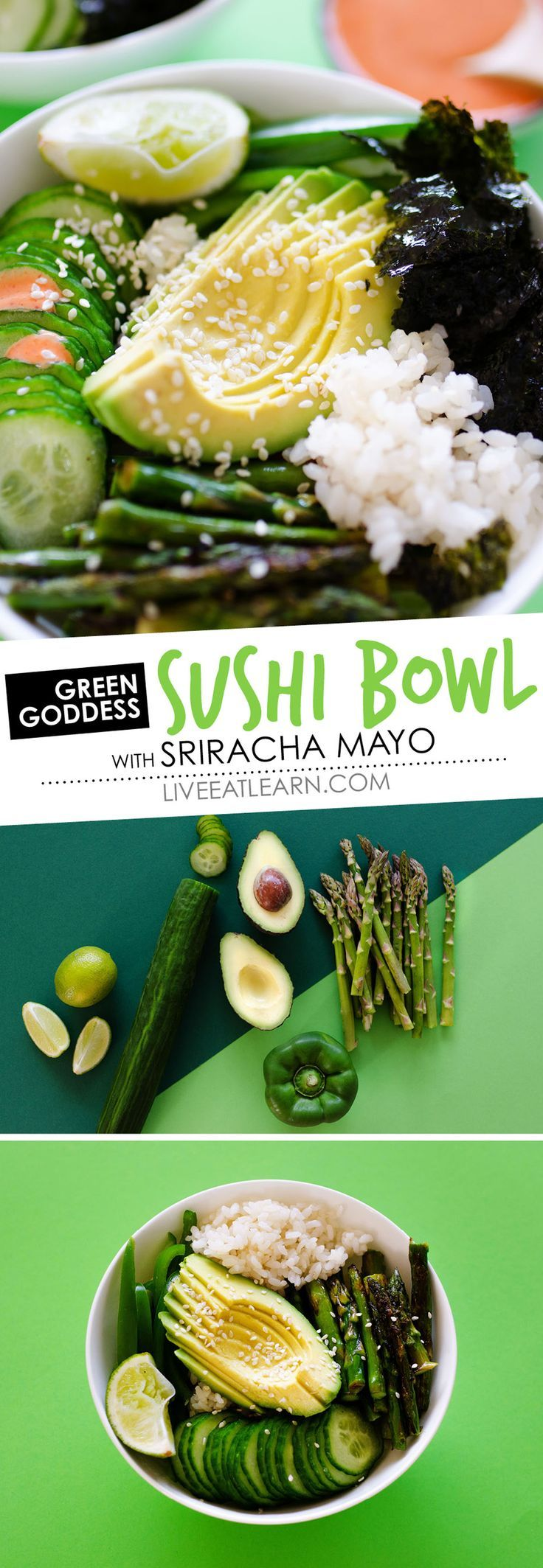 This healthy Green Goddess Sushi Bowl recipe takes everything good about vegetarian sushi and turns it into a hassle-free, mouth-wateringly delicious bowl. The perfect vegan and gluten-free meal thats fast, easy, and full of flavor! Perfect for the whole family. // Live Eat Learn