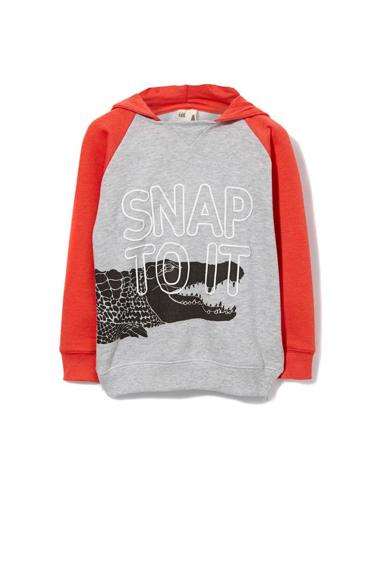 Boys regular fit fleece hoodie.  Made form soft brush back fleece, V neck detail at front neck.  Rib cuffs and waistband. Offered in a variety of prints and print techniques.