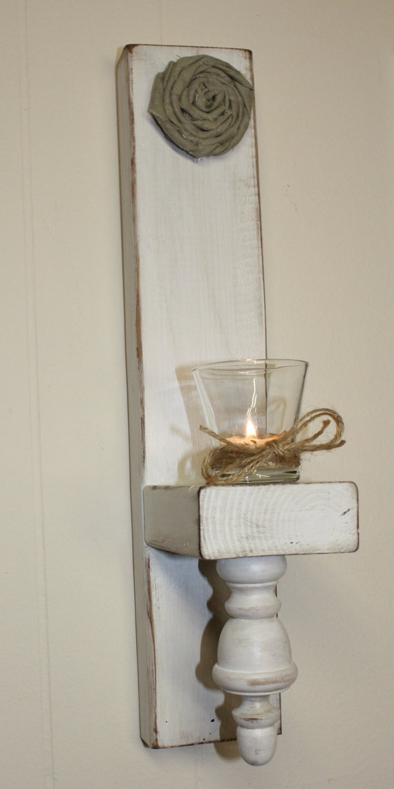 Distressed Wood Candle Sconces by RyAngelsCreations on Etsy, $35.00: Distressed Wood