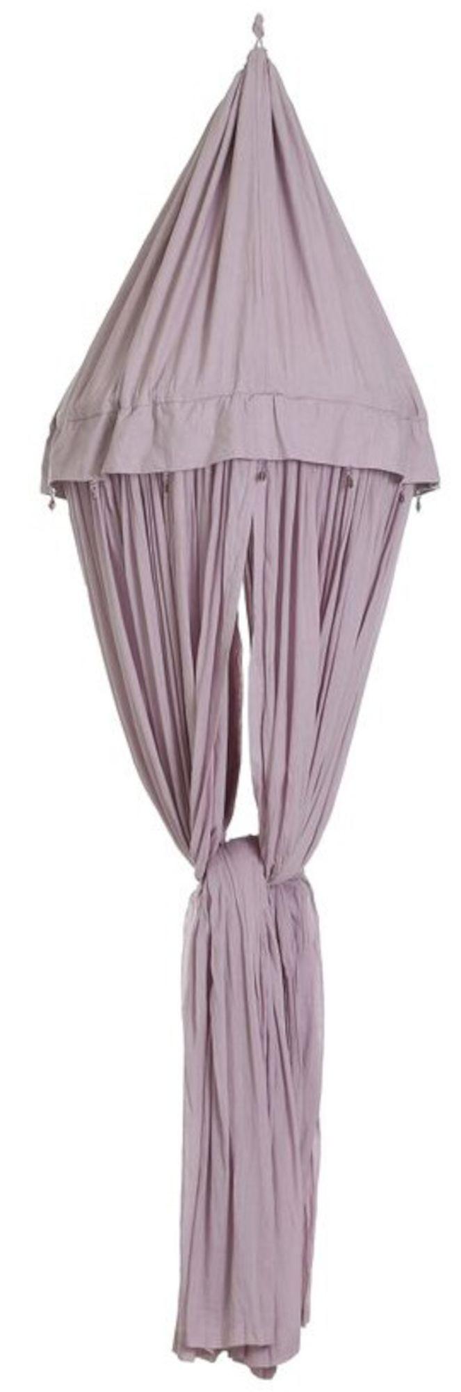 Funky Factory Sänghimmel, Lavendel Grey är en härlig sänghimmel som är 2 meter hög. Placera sänghimmelen över sängen för att skapa en mysig atmosfär. Tyget på ovandelen är i 100 % bomull och resterande tyg är tillverkat av hållbart linne som ger sänghimmelen ett fint fall (totalt 20 meter tyg). Ovandelen är dekorerad med vackra glaspärlor. Tyget är fastsatt på en ram av bambu och är avtagbart för att kunna tvättas i tvättmaskinen (40 grader). Skyddar även mot insekter. <br><br>-Fä...