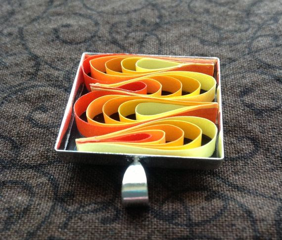 Sunset paper quilled pendant yellow orange red by JewelrybyDenise, $12.00