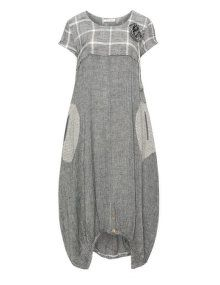 zedd plus Linen cotton summer dress in Anthracite / Cream