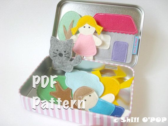 Felt Magnetic Toy Set. With this PDF Pattern you can make more than 16 magnetic felt toys: trees, houses, dolls, animals and weather types. This Felt Magnetic Toy Set is great for imaginative play, telling stories. They all fit into a small tin box, handy for bringing along on trips! This listing is for PDF pattern, NOT the finished product.  You will receive full size printable pattern in PDF format.  Free How To make this toy at http://en.shillopop.com/how-to-make-felt-magnetic-toy-set…