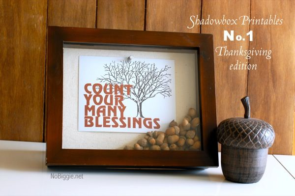 Count Your Many Blessings shadowbox with acorns