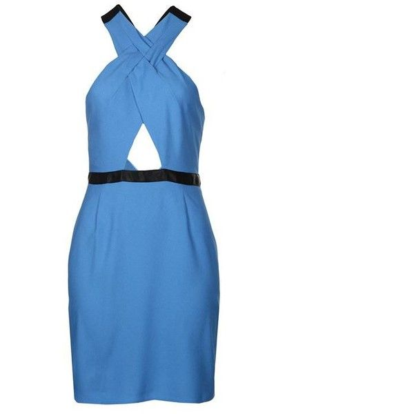 Jovonna  Cross Cutout Strap Dress ($30) ❤ liked on Polyvore featuring dresses, blue, blue evening dresses, white cutout dresses, evening cocktail dresses, blue dress and special occasion dresses