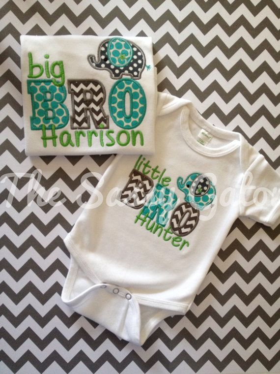 BIG/LIL Bro Personalized Applique TShirt New baby by TheSassyGator, $23.99