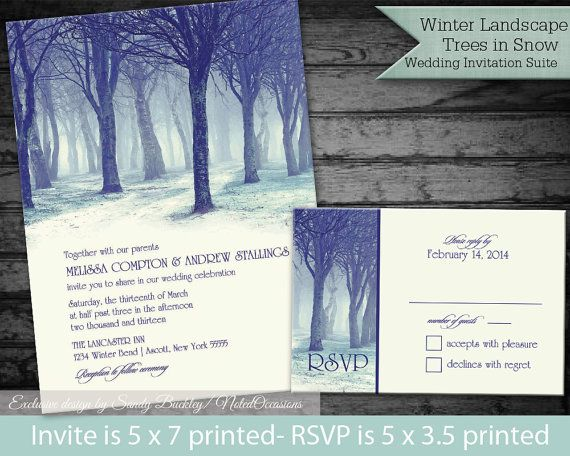 Woodlands Winter Wedding Invitations Tree by NotedOccasions, $35.00