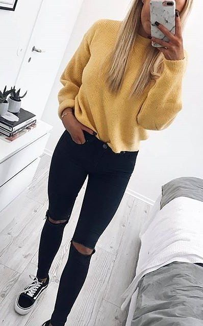 #fall #outfits women's yellow sweater and distressed jeans