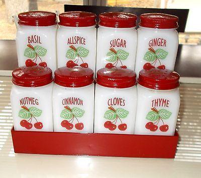 Vintage Fire King Cherry Design 8 Spice Jar Set and Spice Rack Very Nice Set…