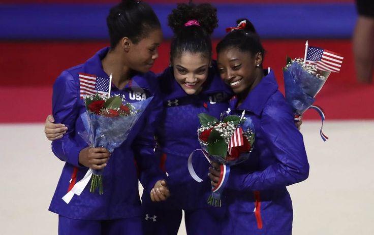 Simone Biles and Gabby Douglas lead USA gymnastics team for Rio