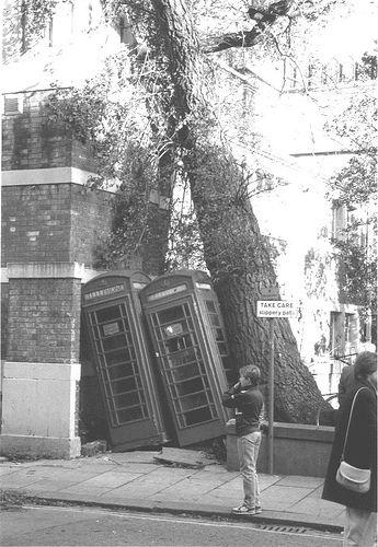 slippery path - 17th 0ctober 1987 post-storm scene in Brighton