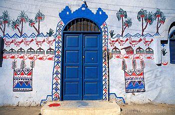 Egypt, Upper Egypt, Nile Valley, Aswan, Nubian house