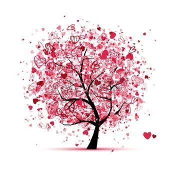 hochzeitseinladung pink: Valentine Baum mit Herzen für Ihr Design
