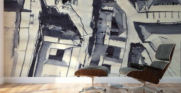 Architectural view in birdeye Indian ink - ArtofCaelia  - Canvas