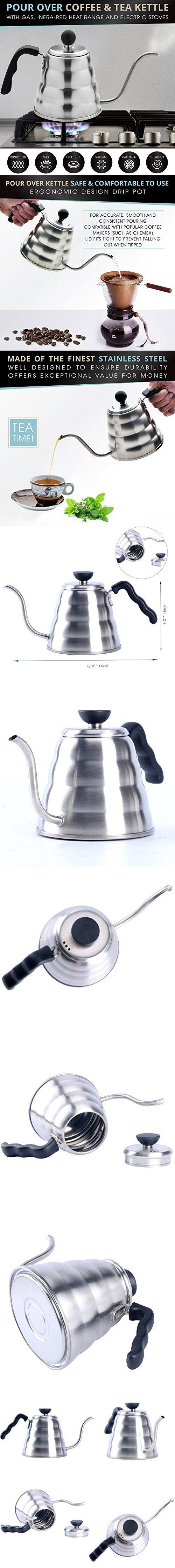 YaeKoo 1L Stainless Steel 304 Coffee Drip Kettle,Gooseneck Stainless Steel Drip Pot for Coffee & Tea