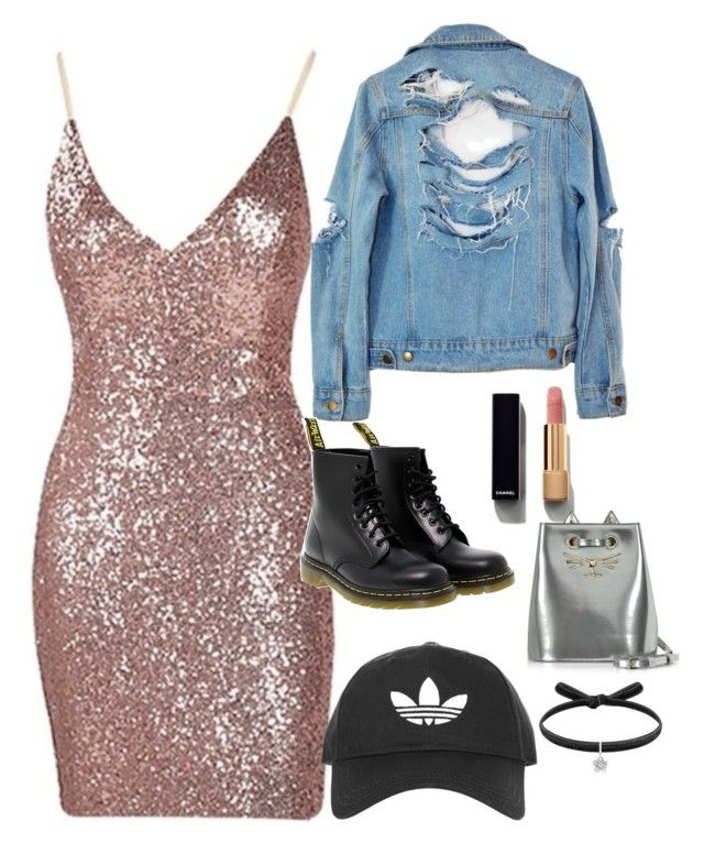 """""""Edgy Elegance"""" by erinjnolan on Polyvore featuring High Heels Suicide, Dr. Martens, Topshop, Chanel and Charlotte Olympia"""
