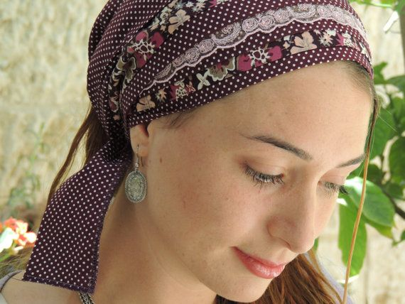 Purple Dotted SINAR beautiful tichel Hair Snood in my tichel shop for hair covering made from 100% quality cotton and lace