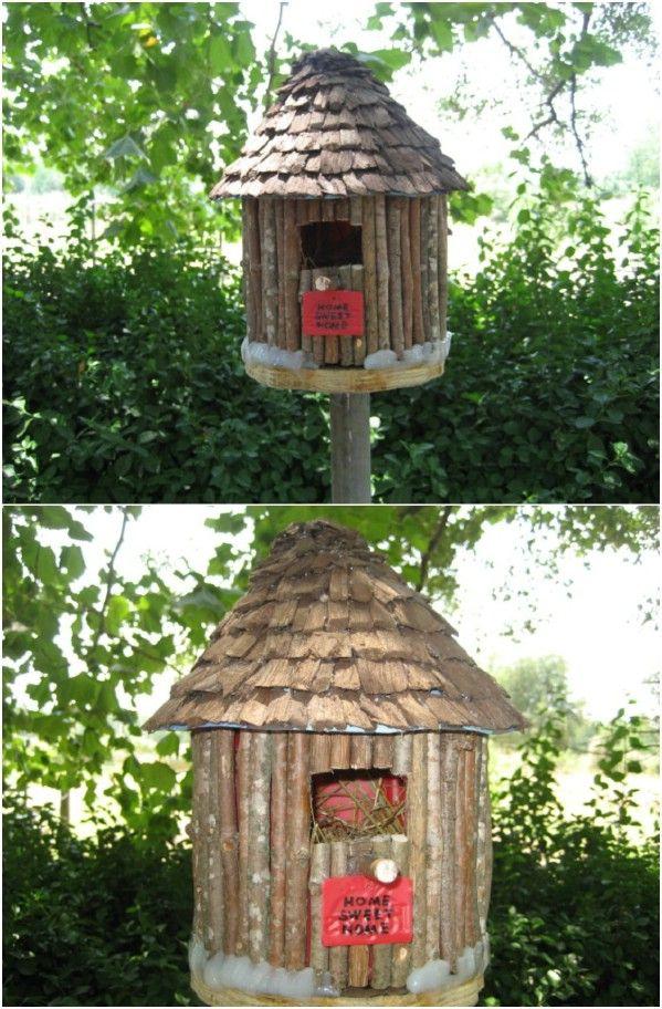 Upcycled contenedor de café Birdhouse