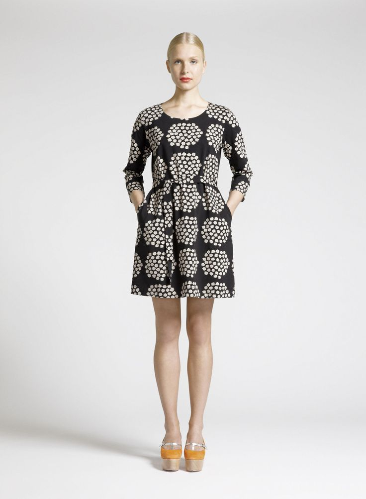 Marimekko's Kaksin dress with Puketti pattern by Annika Rimala.